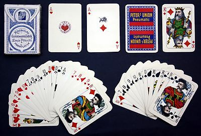 1919 Wüst Frankfurt Spielkarten Peter Union Reklame Kartenspiel playing cards