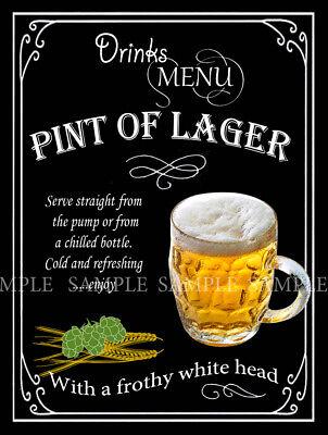 Pint Of Lager  Retro Pub,bar,club, Man Shed,home Bar,metal Sign-Plaque Gift