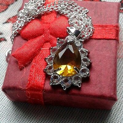 """your Guardian Angel"" Personal Jewellery Yellow Crystal Silver Plated Necklace"
