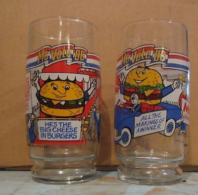 McDonald's 1986 Mc Vote 86 Quarter Pounder with Cheese or Mc D.L.T. Glass