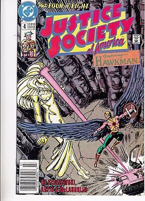 JUSTICE SOCIETY OF AMERICA  #4 1991 DC -FEATURING HAWKMAN  STRAZEWSKI-s...VF
