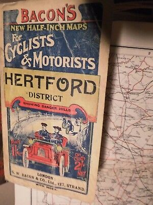 Road And Rail Map North West From London: C1900-1910 Fine Picture Cover:g.bacon