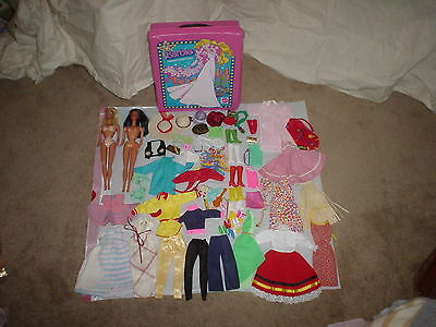 Vintage 1960's Barbie Dolls & 1977 Case With Many Accessories Clothes Shoes Etc.