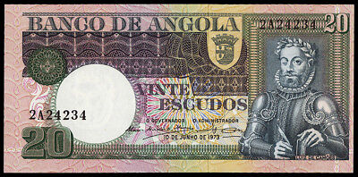 Angola 20 Escudos. June 10, 1973. Krause #104. Uncirculated
