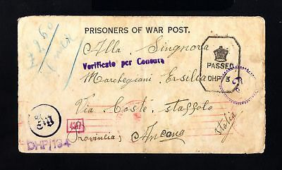 16614-INDIA-POW.PRISONER NAZI CENSOR CONCENTRATION Camp BOMBAY.1944.WWII.ITALY.