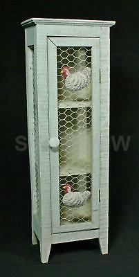 Country Rustic 3 Shelf Wood Cupboard Spice Box With Chicken Wire And Chickens