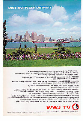 "1960s WWJ-TV ""Distinctively Detroit"" Vintage TV Station Print Advertisement"