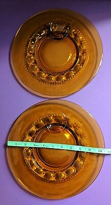 """Vintage Amber Glass 10.5"""" Round Snack Plates w/ Circle for Cup, Lot of 2"""
