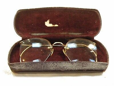 mdr PAIR OF ANTIQUE SPECTACLES EYEGLASSES gold plated wire frame- good condition