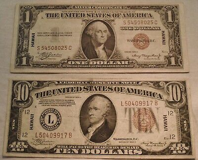 Lot (2) 1934 1935 A $1 $10 Hawaii Silver Certificate, Federal Reserve Notes WWII
