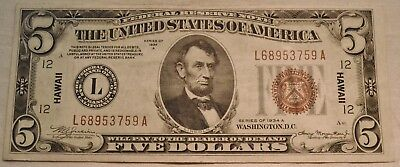 1934 A $5 Hawaii Federal Reserve Note,  Scarce, Higher Grade WWII World War II