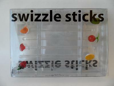 Boxed Set Insidesign  X 6 Art Glass Swizzle Sticks For Bar