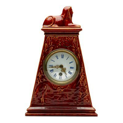 Burmantofts Faience Mantel Clock With Sphinx