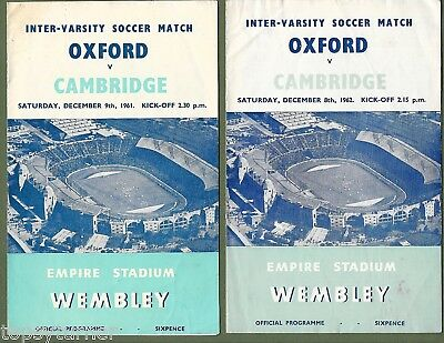 Oxford V Cambridge Varsity Football Matches 1961 & !962. Two Official Programmes