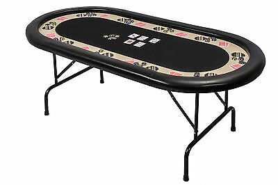 Tournament Poker Table Folding Metal Legs in Black Speed Cloth & Leather Armrest