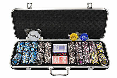 Pro Poker Chips Set - 14g 500 Piece Numbered Poker Set & Free Accessories