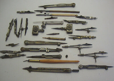 Collection of various antique and vintage draughtmans drawing instruments