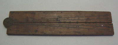Antique boxwood and brass two section folding ruler 6-12""