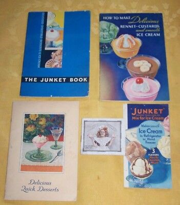 5 Different Junket Ice Cream Mix Booklets Pamphlets 1915-1936