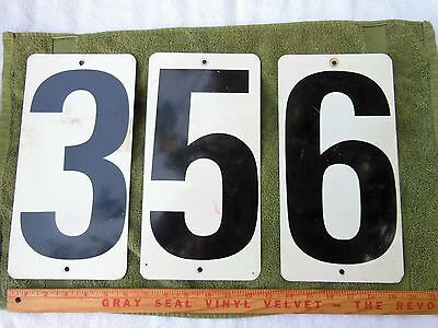 Lot of 3 Vintage Gas Station Number Signs Metal Two Sided