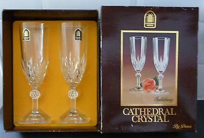 Dema 2 Tall Champagne Glasses 24% Lead Crystal..cathedral Crystal..salisbury