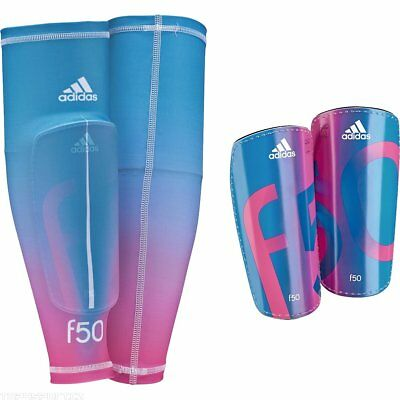 adidas Performance F50 Pro Lite Shin Pads With Compression Sleeve Blue - Pink L