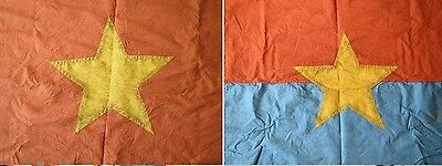 two flags  , THE NLF , A WINNER TAKES ALL , VIETCONG ,  COMMUNIST ,  FLAG