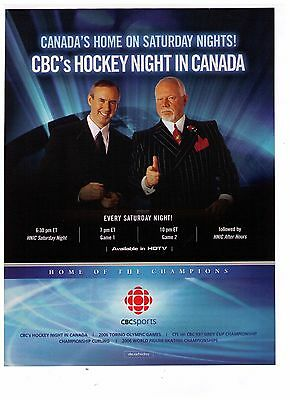 2005 CBC Hockey Night In Canada Don Cherry/Ron Maclean Print Advertisement
