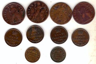 gb 10 coins 4 x charles 2nd farthings plus some half and third farthings