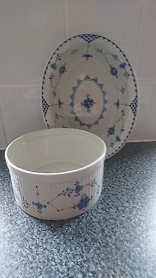 Furnivals Blue Denmark Oval Lipped Serving/pie Dish&souffle Dish Mint Condition