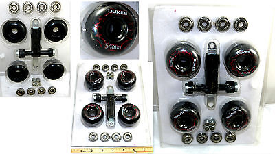 DUKES SKATEBOARD BLACK AND RED WHEELS 54mm WITH BEARINGS SET