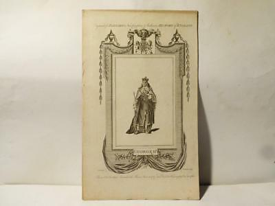 Antique c1783 King George II Engraving Print for Barnard's History of England