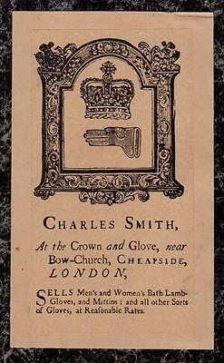 1800s repro of 1700s Charles Smith Crown and Gloves Bow Church Cheapside London