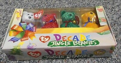 "Ty BEANIE BABIES "" DECADE,THE JINGLE BEANIES COLLECTION "" IN MINT CONDITION"