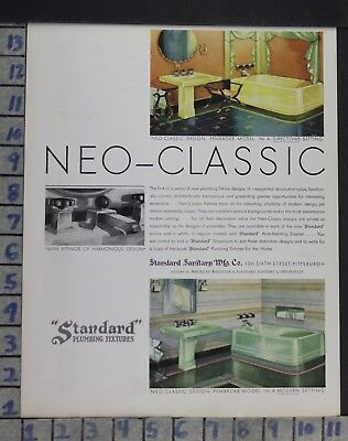 1931 Standard Plumbing Fixture Bathroom Pembroke Home Decor Vintage Art Ad Dn20