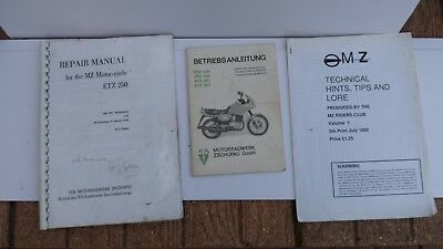 Mz Etz 125 150 251 301 Operating Instuctions + Repair Manual/ Tips