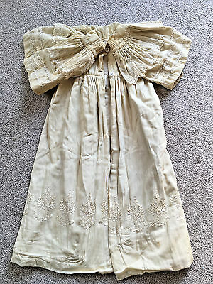 Antique 1900s LONG Baby CHRISTENING Baptism Gown COAT BIG COLLAR embroidered VTG