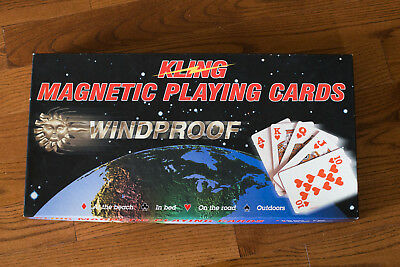 Kling Magnetic Windproof Playing Cards & Board - 2 Decks Incl, One Brand New!