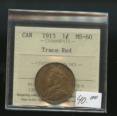 1913 Canada Large Cent ICCS Certified MS60 Trace Red  A167