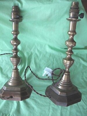Pair of old antique Queen of Diamonds Brass Candlestick table lamps on oak base