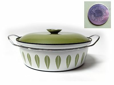 Vintage 1960s Large CATHRINE HOLM SAUCEPAN Green Lotus Pattern NORWAY Design