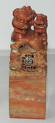 CHINESE SHOUSHAN SOAPSTONE HAND-CARVED SEAL with FOO LIONS 4.5""