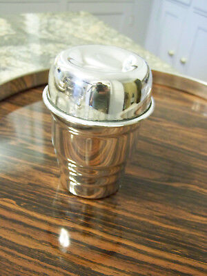 SMALL STUNNING MCM or ART DECO STYLE SILVER COCKTAIL SHAKER TOP NOTCH -TRAVEL SZ