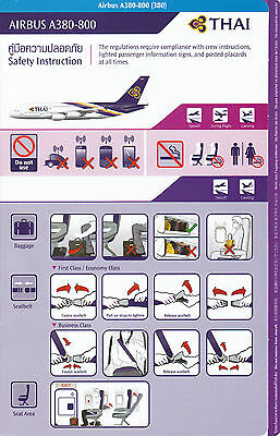 Safety Card Thai Airways A380-800 November 2015 - Airbus A 380 Sicherheitsblatt