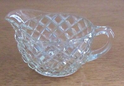 Vintage Depression Glass Clear Cube Cream Pitcher Jeannette?