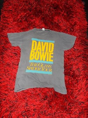 Mens 1987 Vintage David Bowie  T-Shirt Glass Spider Tour Collectable 40 Well Wor
