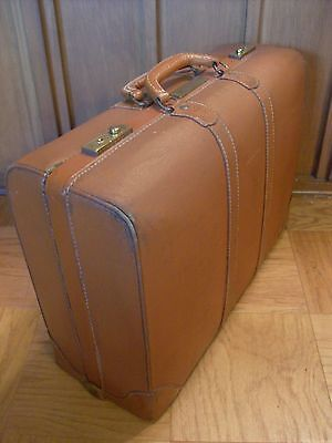 Vintage Lacquered Canvas and Leather Suitcase,