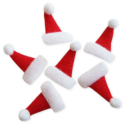 10pcs Padded Santa Hat Christmas Craft Embellishments Scrapbooking Cardmaking