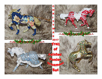 "TRAIL OF PAINTED PONIES Set of 4 Holiday Ornaments Christmas 2017~2.5""-3"" Tall~"
