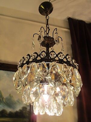 Antique Vnt.French Basket Style Crystal Chandelier Lamp Light 1940's.10 in RARE.